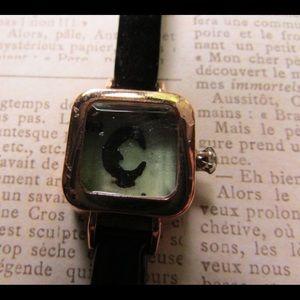 Recycled watch art piece bracelet moon glow cute